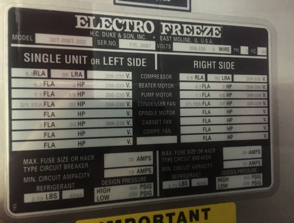 30T-RMT Info Specs For Sale Showroom Electrofreeze Electro Freeze New England Online Buy Purchase